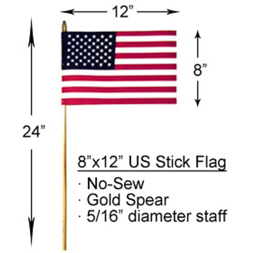8x12 inch U.S. No Fray Stick Flags With Spear