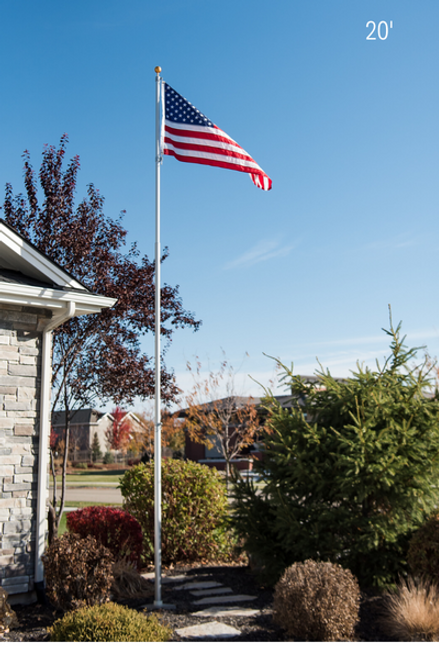 20 Foot 12 Gauge Telescoping Flagpole With FREE Flag