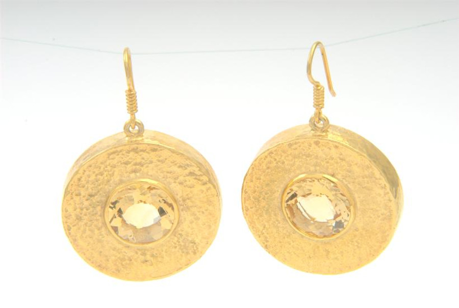 Beat Earrings with Citrine