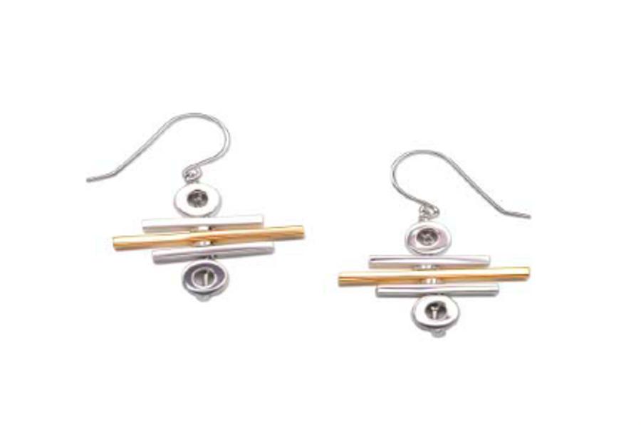 Movement Rack Two Tone Bar Earrings