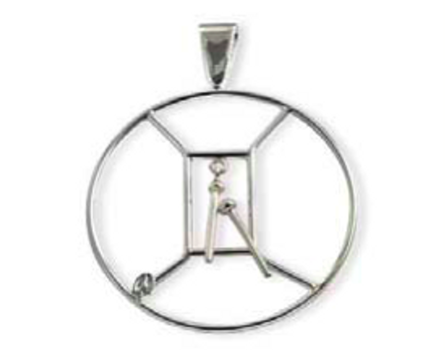 sterling silver, 2 in hoop with sticks that move  and shake.