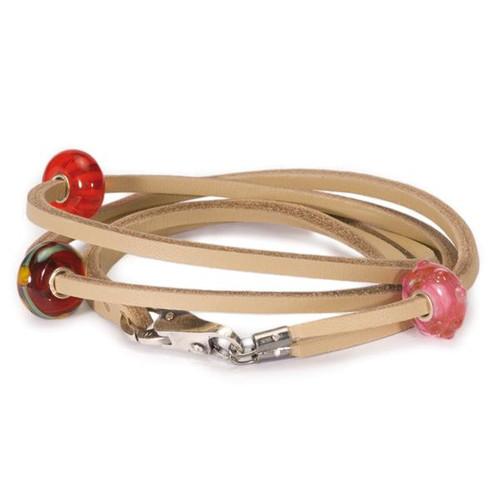 Trollbeads Bracelet, Beige Leather, with glass beads.