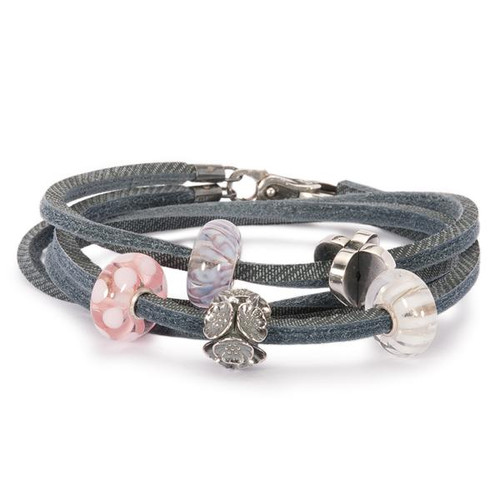 Trollbeads Bracelet, Blue Leather, with silver charms and glass beads.