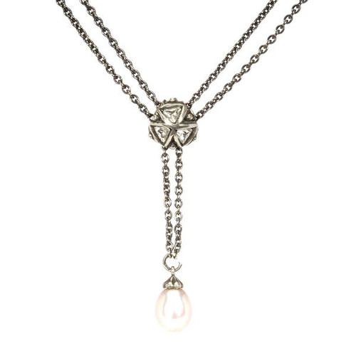 Trollbeads Silver Charm Crystal Triangles on Fantasy Necklace