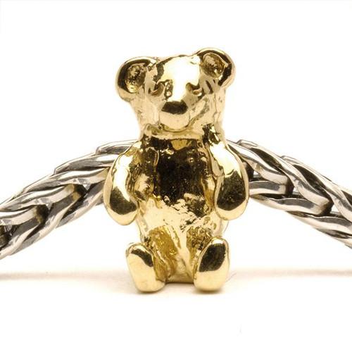 Trollbeads Gold Charm Teddy Bear on Troll Bracelet