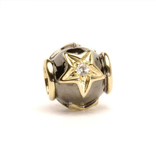 Trollbeads Silver and Gold Charms Stars with Diamonds