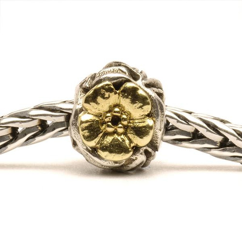 Trollbeads Silver and Gold Charms Flowers on Troll Bracelet