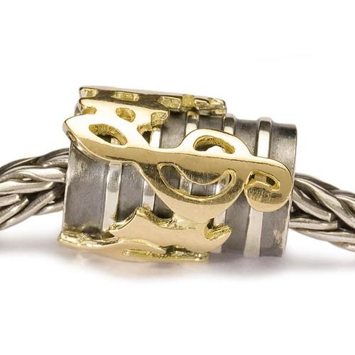Trollbeads Hallelujah, Silver and Gold on Troll Bracelet