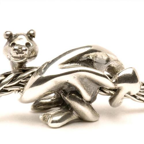 Trollbeads Silver Charm Lucky Dragon on Troll Bracelet