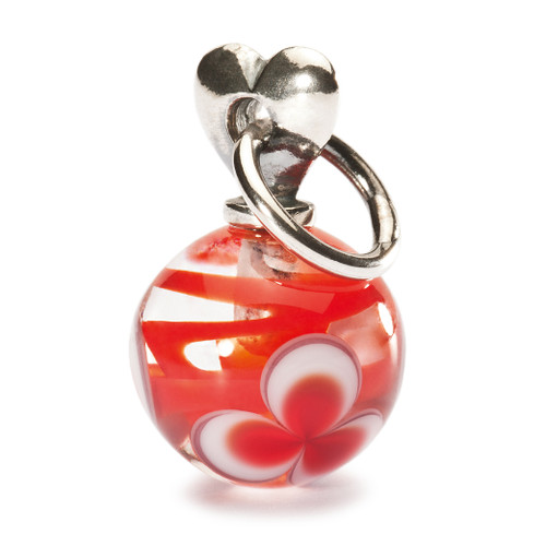 Trollbeads Silver and Glass Charm, Valentine Love, Red, New Troll Beads 2013, TrollbeadsAkron.com