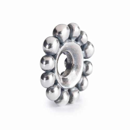 Trollbeads Lotus Top Bead, Fall Collection Silver Charm, Backside