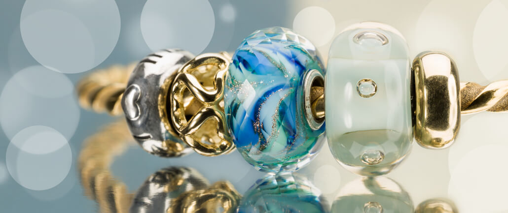 Trollbeads Bangle with Blue Glass Beads