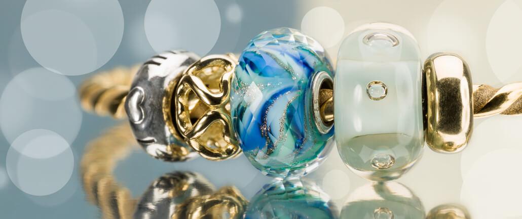 Trollbeads Bangle with Blue Glass Beads