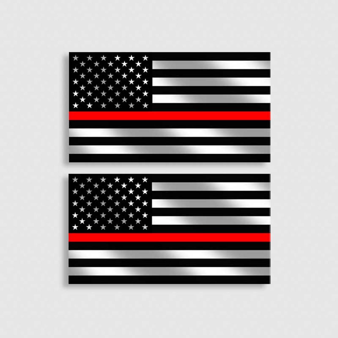 Firefighter Thin Red Line Car Emblem Fire Department Metal Badge