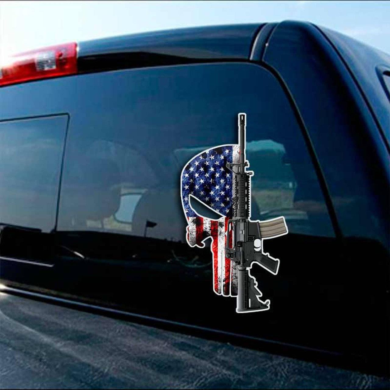2nd Amendment Punisher Sticker Decal Security American Flag Guns Truck Car