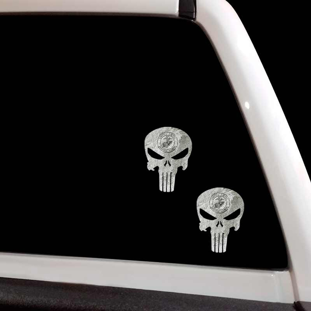 JEEP AND THE PUNISHER SKULL METAL LICENSE PLATE TAG FOR CARS PATRIOTIC DESIGN