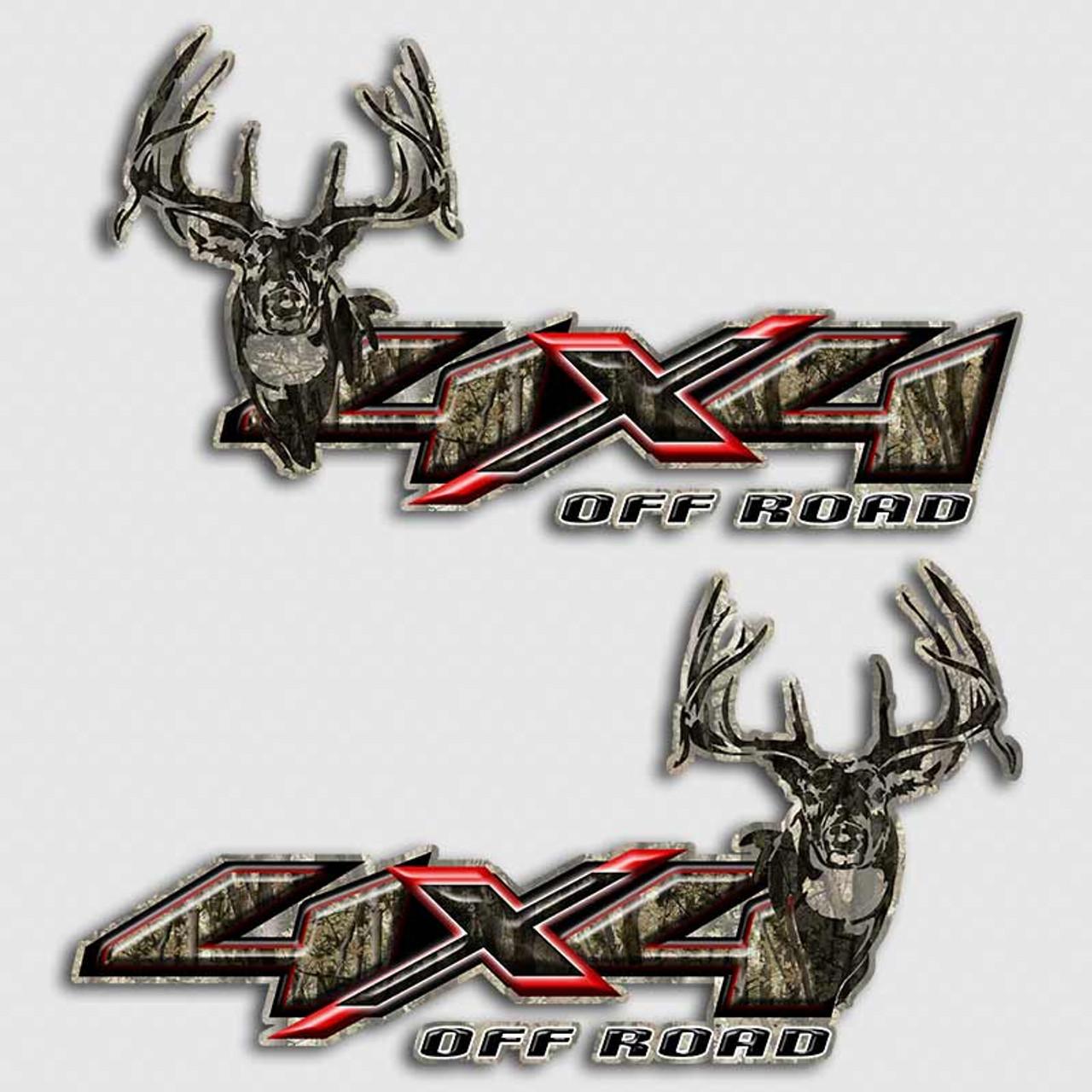 4x4 camouflage red x deer decals