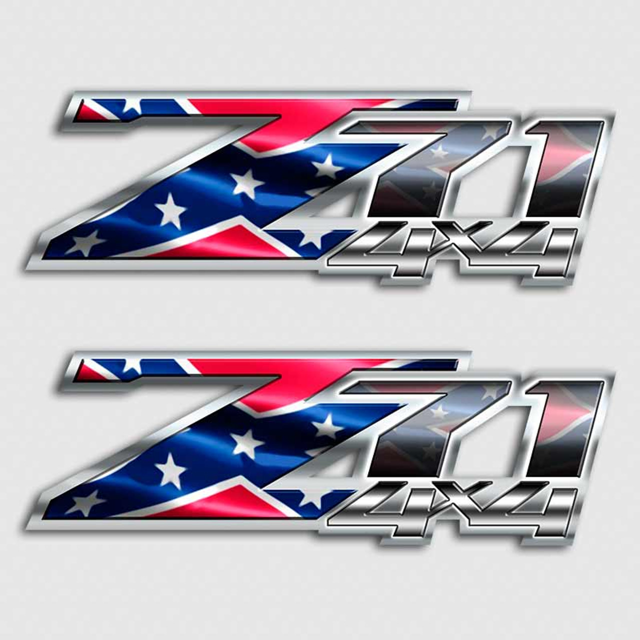 Z71 Confederate American Rebel Flag Truck Decal Set Chevy Sticker