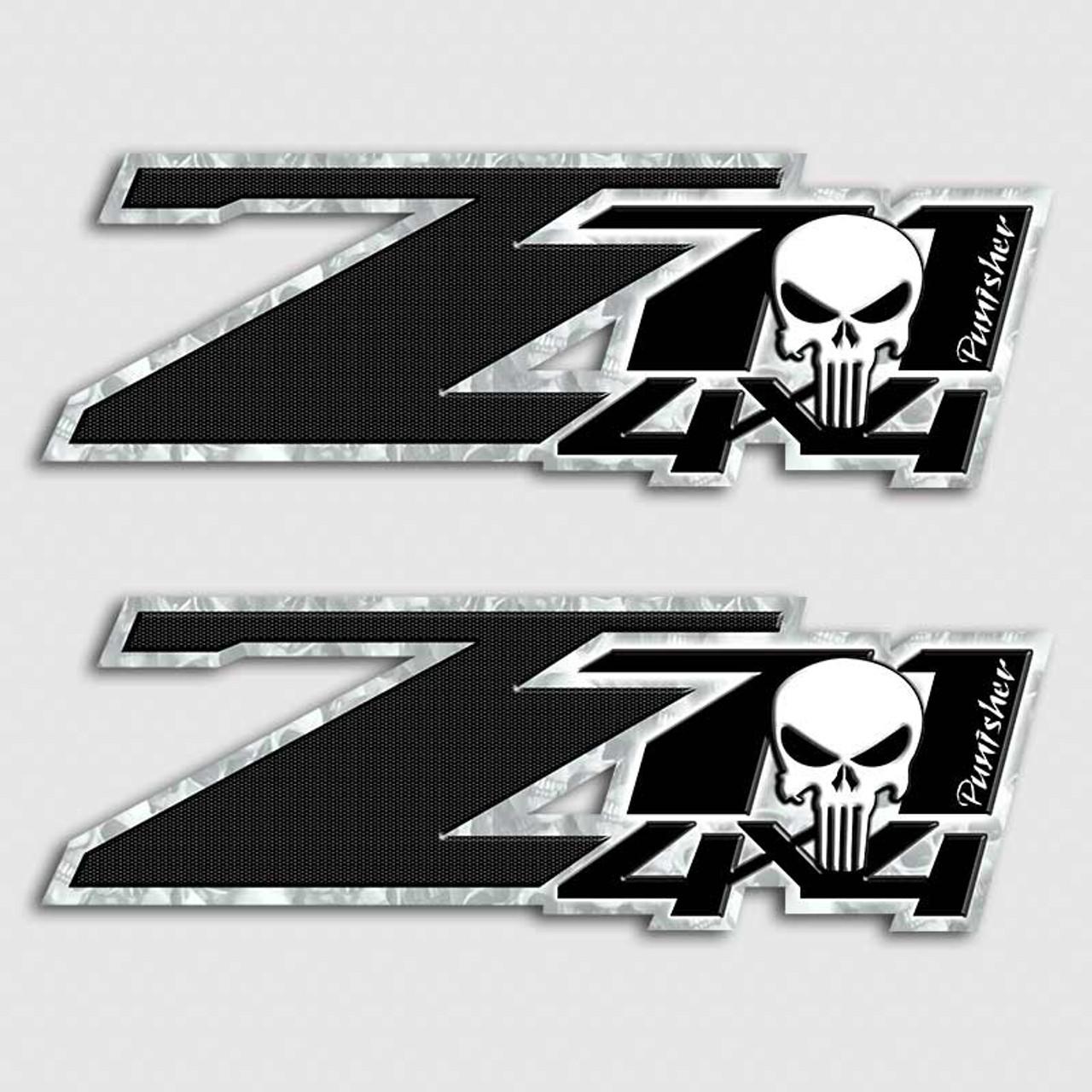 Z71 Punisher Hero Skull Black Carbon Fiber Truck Decal Set