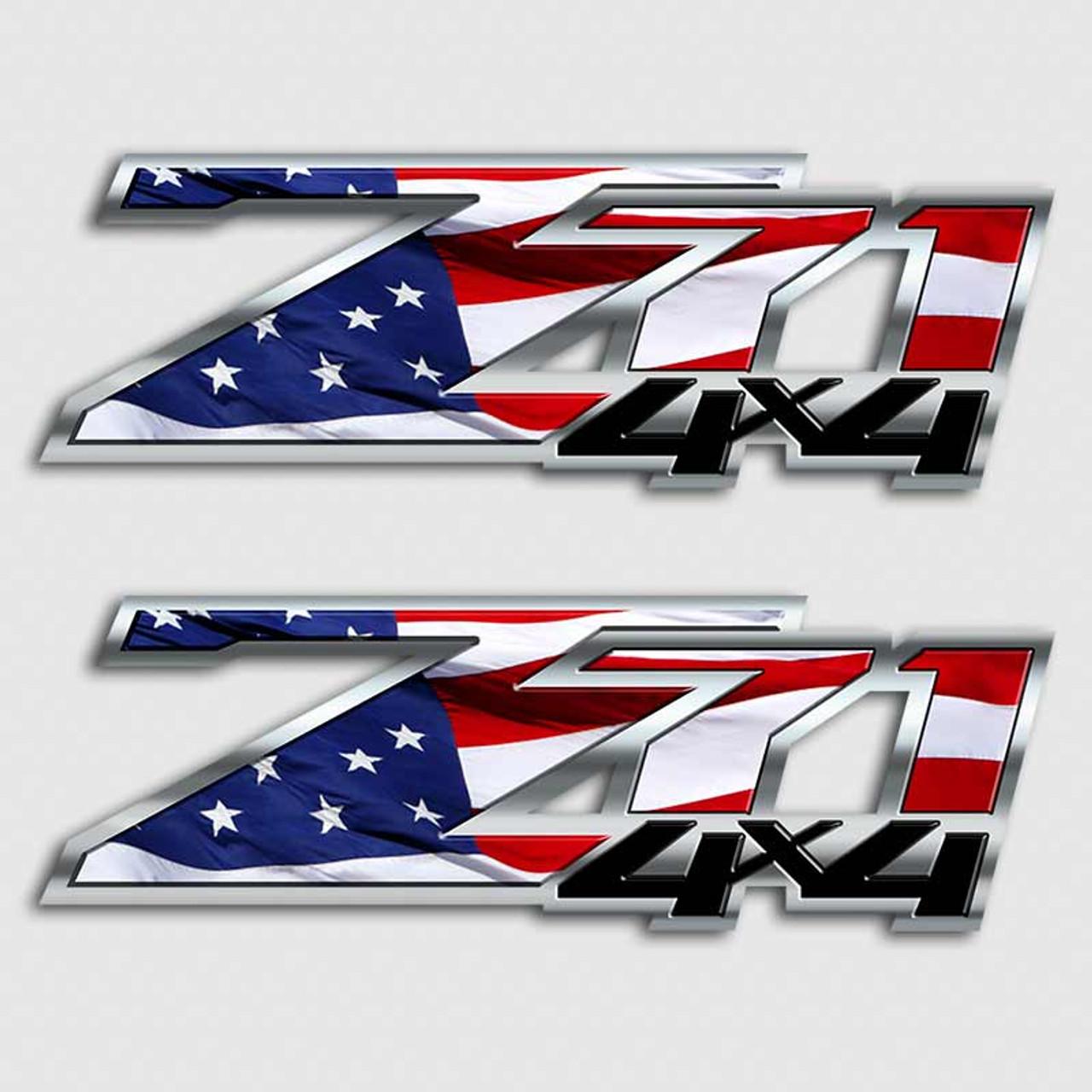 American Flag Silverado Z71 Truck Decal Set | Chevy 4x4 USA