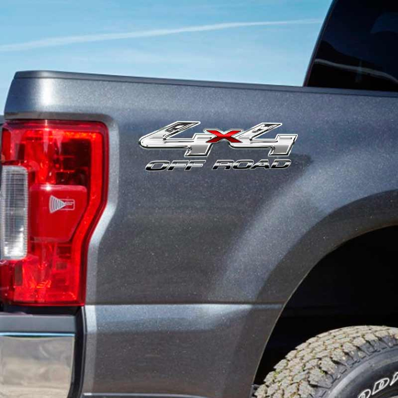 CHROME Set 4x4 Fx4 Truck Bed Decals for Ford F-150 and Super Duty