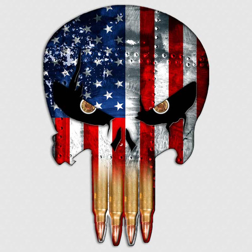 Skull American Flag Subdued Distressed Decals Skull Stickers 2 pack N