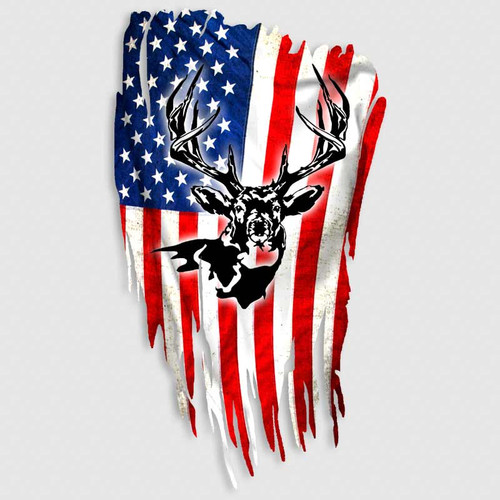 Distressed American Flag Whitetail Hunting Decal