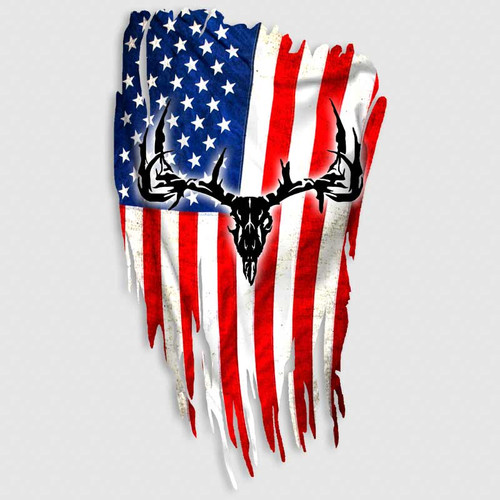 Distressed American Flag Whitetail Skull Decal