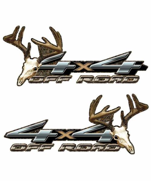 4x4 Natural Skull Deer Decals