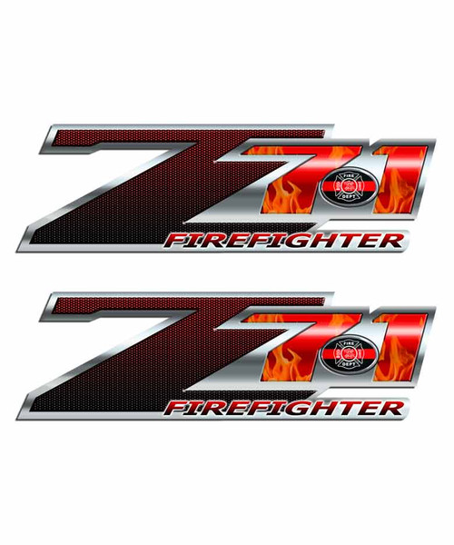Firefighter Flames Silverado Z71 Truck Decal Set