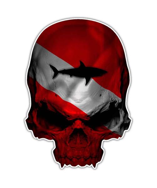 Dive Flag Shark Skull Sticker