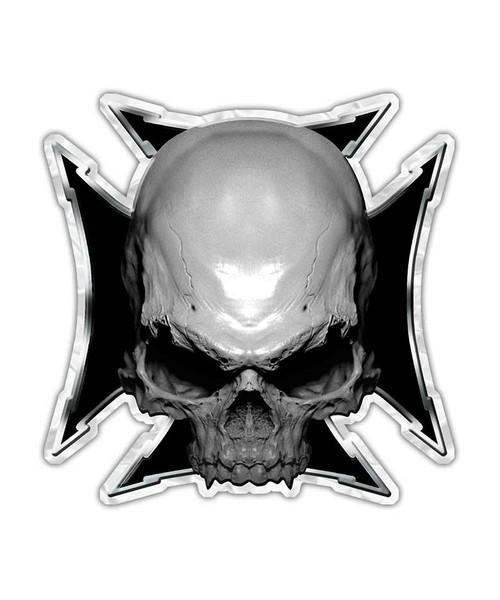 Maltese Cross Skull Sticker