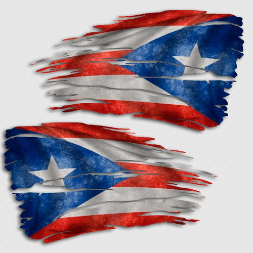 Tattered Puerto Rico Flag Distressed Decal Set
