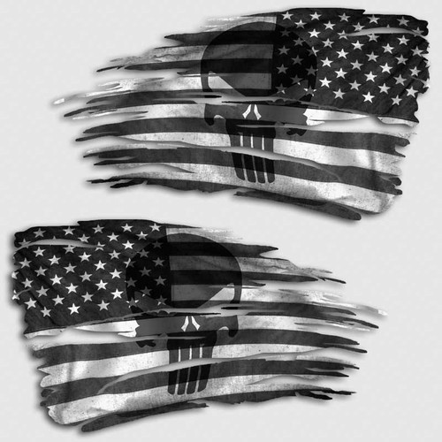 Tattered Subdued American Punisher Flag Distressed Decal Set