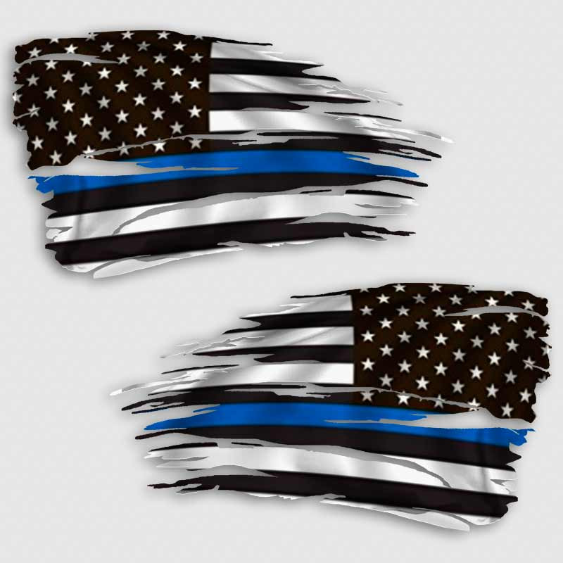 Thin Blue Police Officer/'s Tattered Flag Heart Decal Various sizes Free Ship
