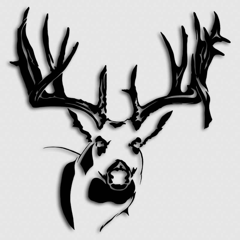 Whitetail Big Buck Head Decal Aftershock Decals