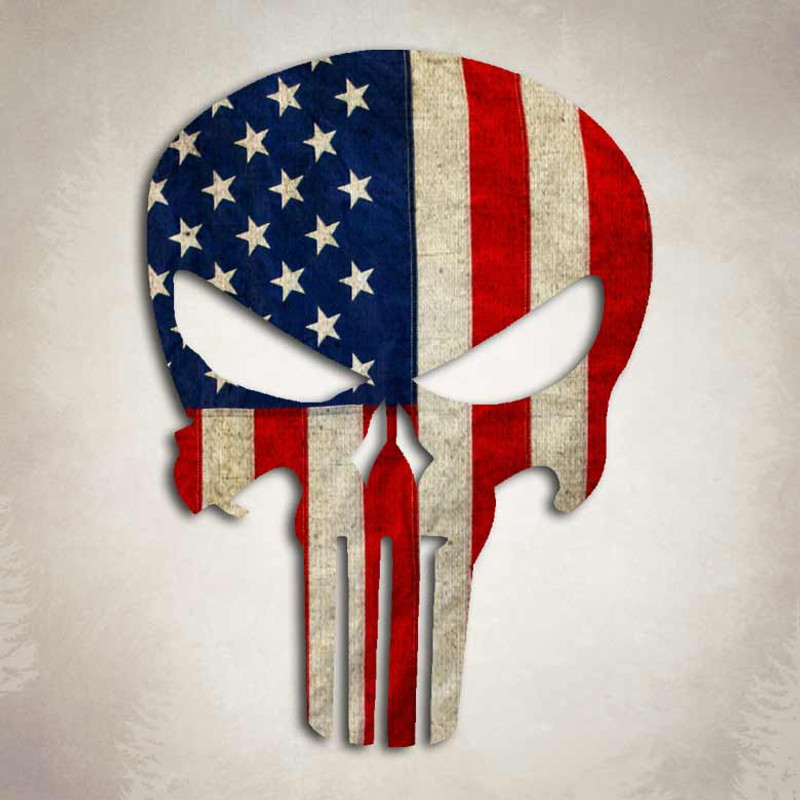 ead3a3f149a Punisher Skull American Flag Sniper Decal Vintage USA Sticker