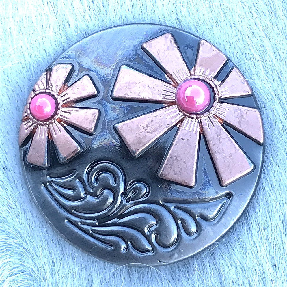 Silver/Copper Floral w/ Pink Stone