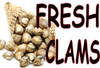 Fresh Clams Banner for Seafood Markets.