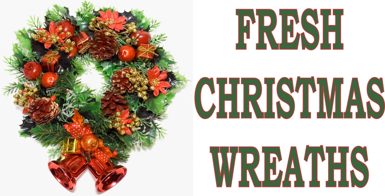 Fresh Christmas Wreaths.Fresh Christmas Wreaths Red Banner Sb 453