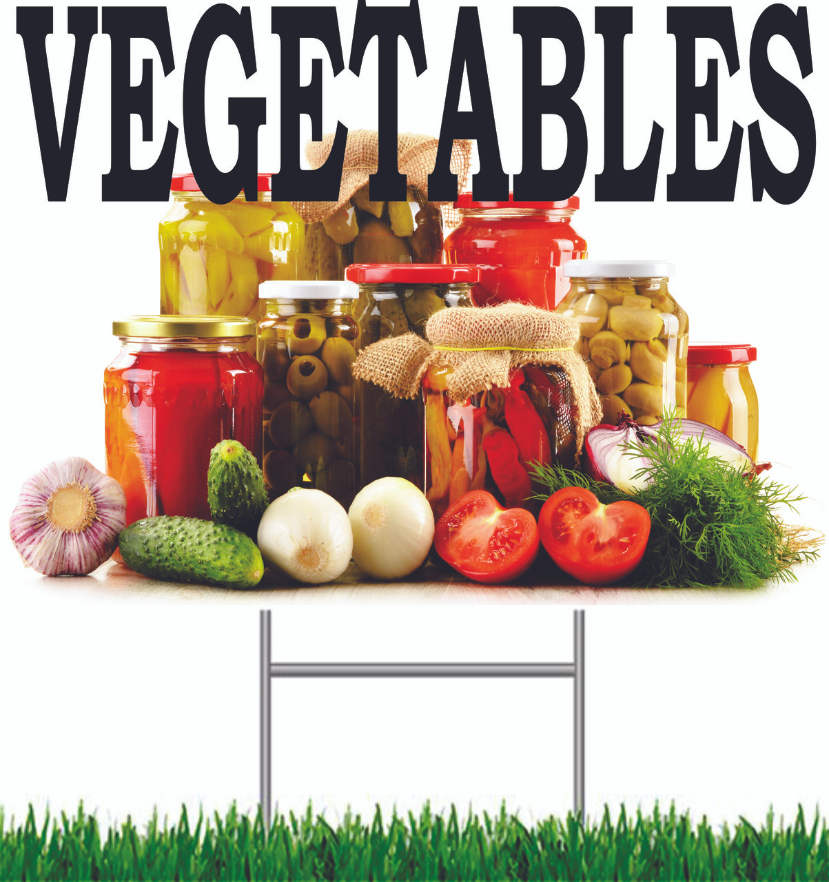 Vegetable Yard Signs draws in shoppers.