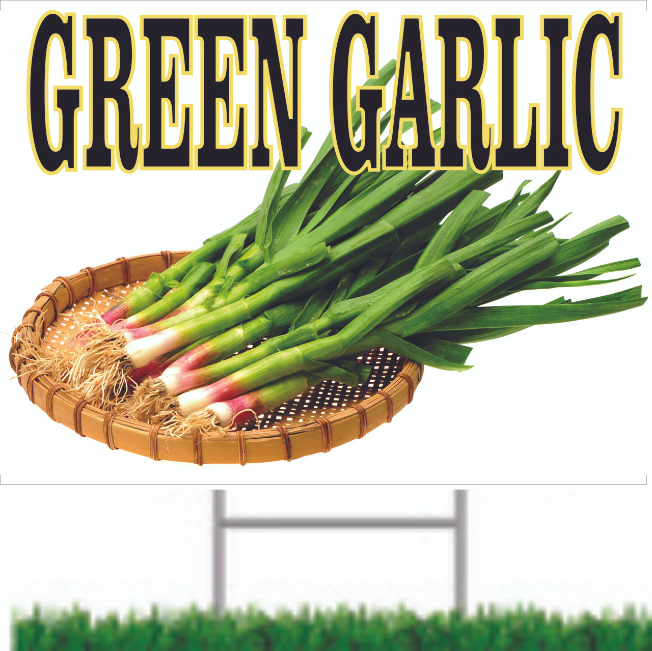 Green garlic road sign in living color gets you noticed.
