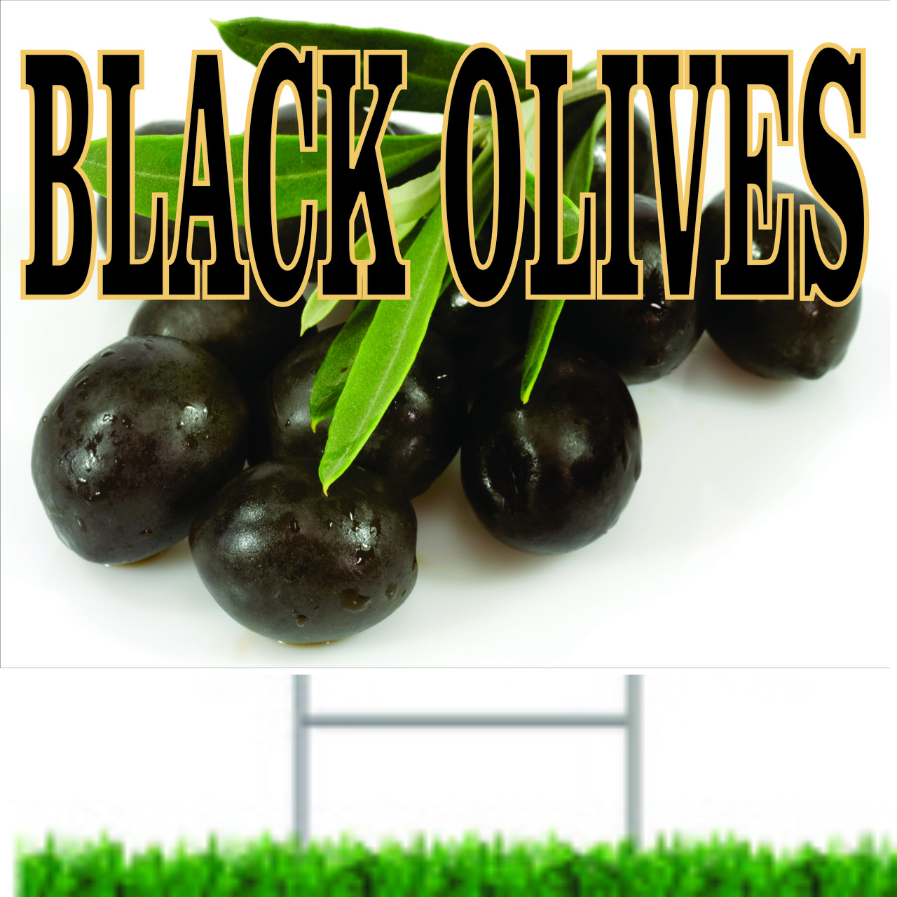 Very Noticeable Black Olive Road Sign Gets Customer Into your produce market.