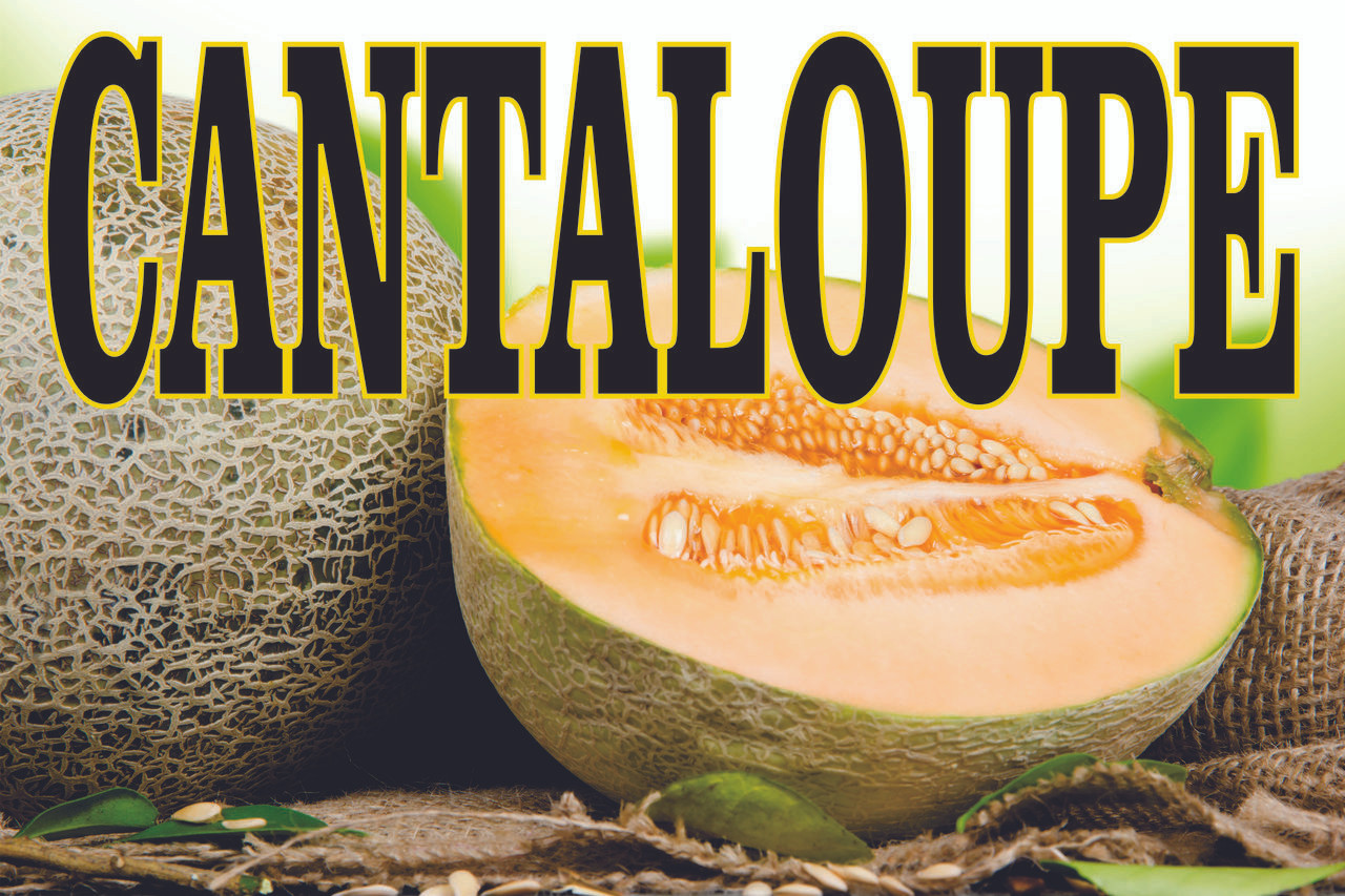 This is a Very Colorful Cantaloupe Banner Get Your Market Noticed.
