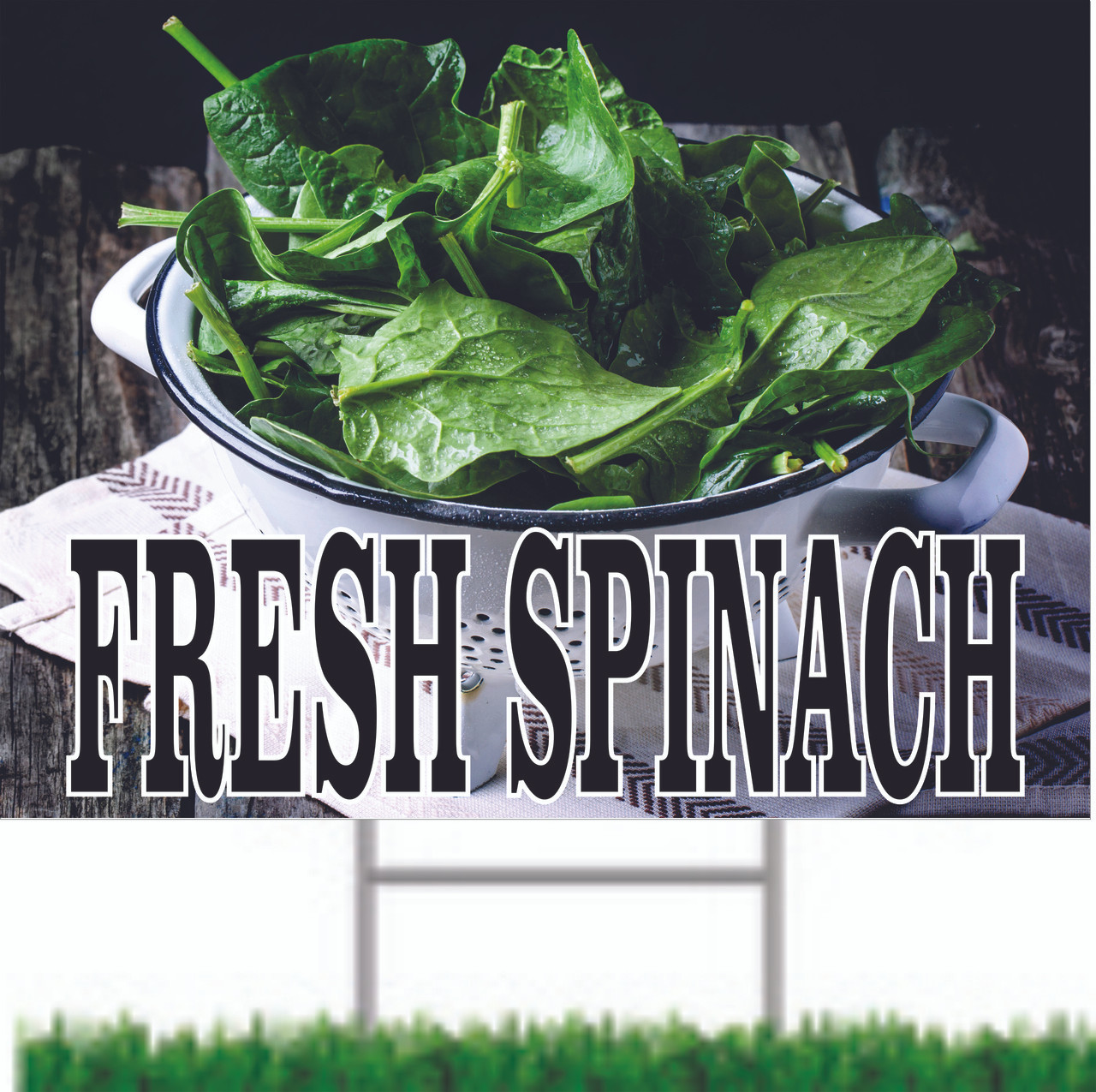 Fresh Spinach Road Sign Let Customers Know it in Season.