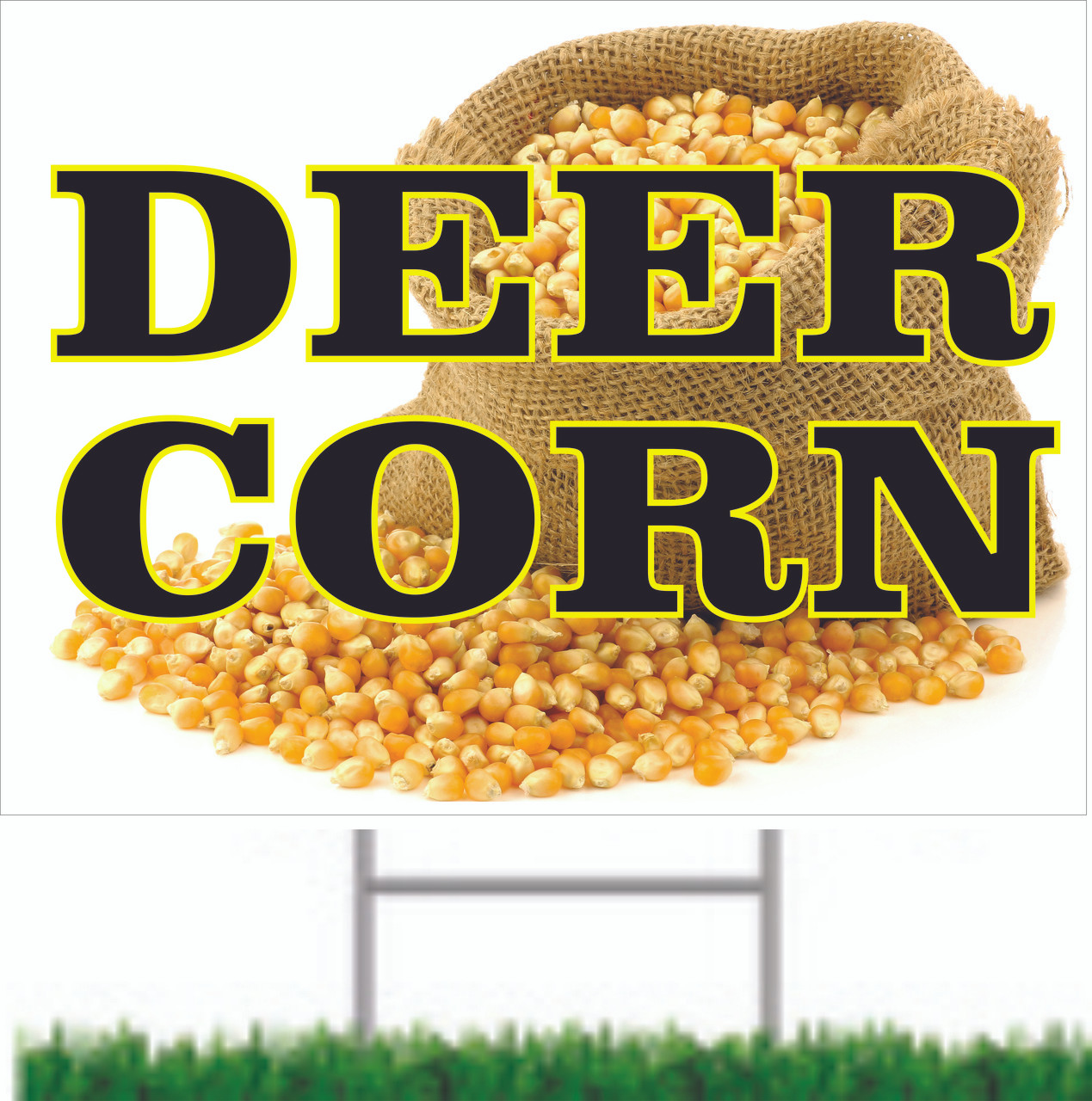 Colorful Deer Corn Road Sign Lets Hunters Know You Have Deer Corn.