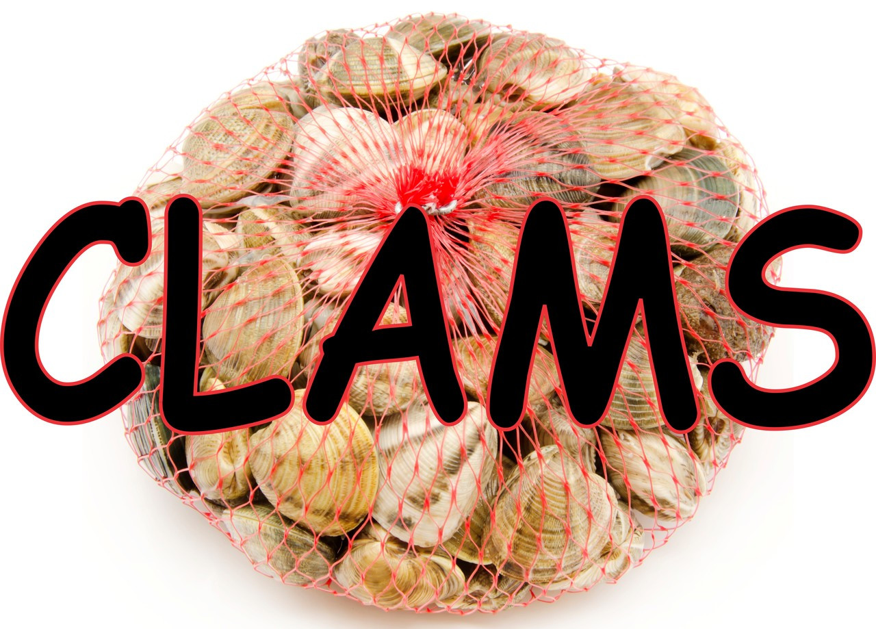 Clams in a Bag Banner a nice seafood sign.