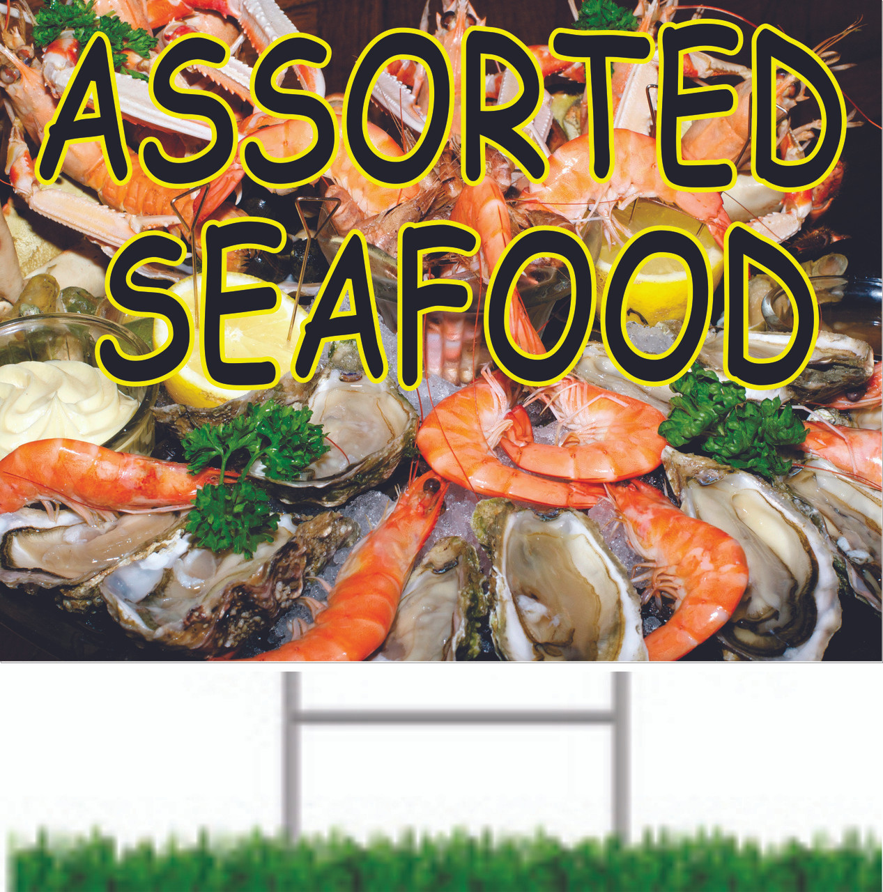 Assorted Seafood Road Signs is very inviting to Customers.