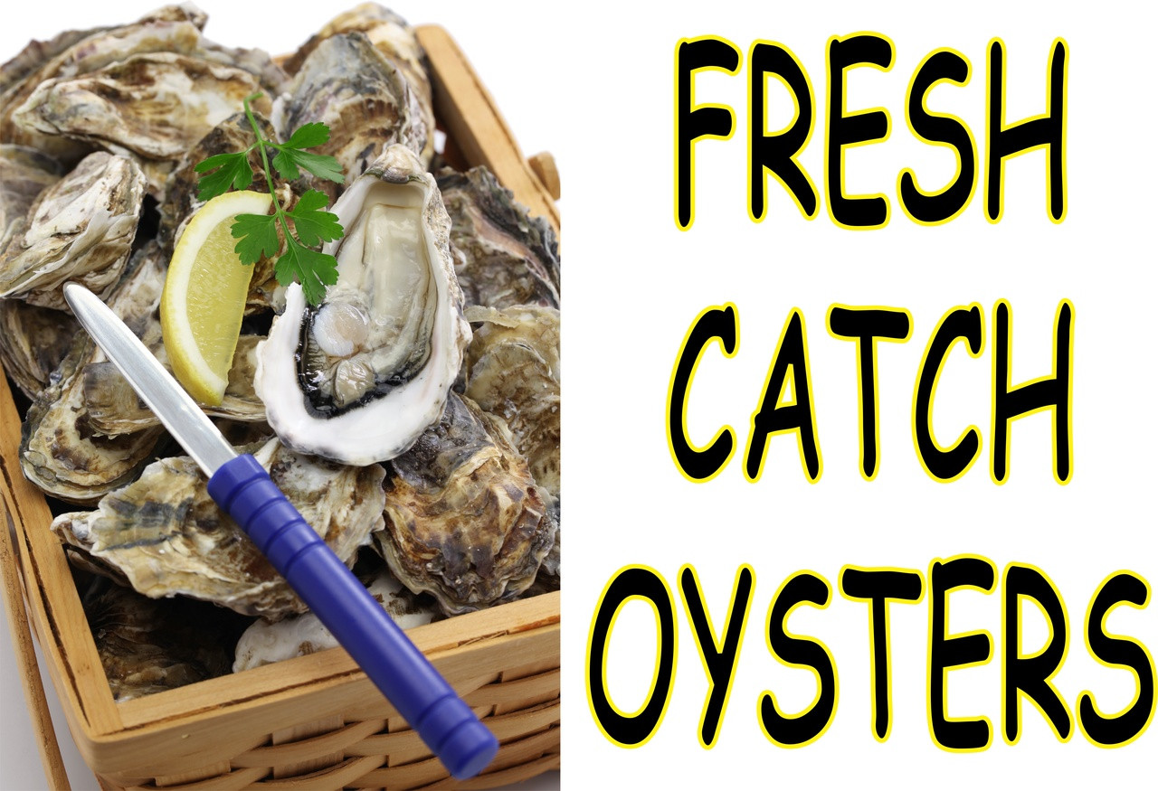 Oysters In a Box Seafood Market Banner.
