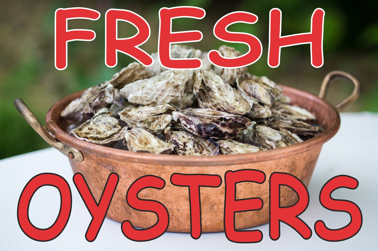 Fresh Oysters Banner is Nice for Seafood Dept.